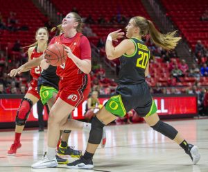University of Utah sophomore forward Andrea Torres (3) goes up for a shot during an NCAA Basketball game vs. the University of Oregon at the Jon M. Huntsman Center in Salt Lake City, Utah on Thursday, Jan. 30, 2020. (Photo by Jalen Pace | The Daily Utah Chronicle)