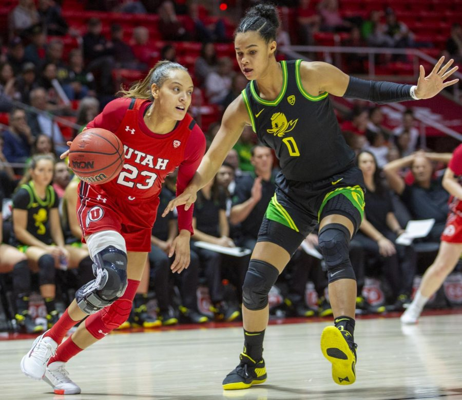 University+of+Utah+senior+wing+Daneesha+Provo+%2823%29+drives+to+the+basket+during+an+NCAA+Basketball+game+vs.+the+University+of+Oregon+at+the+Jon+M.+Huntsman+Center+in+Salt+Lake+City+on+Thursday%2C+Jan.+30%2C+2020.+%28Photo+by+Jalen+Pace+%7C+The+Daily+Utah+Chronicle%29
