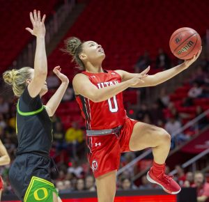 University of Utah senior guard Kiana Moore (0) takes a layup during an NCAA Basketball game vs. the University of Oregon at the Jon M. Huntsman Center in Salt Lake City, Utah on Thursday, Jan. 30, 2020. (Photo by Jalen Pace | The Daily Utah Chronicle)