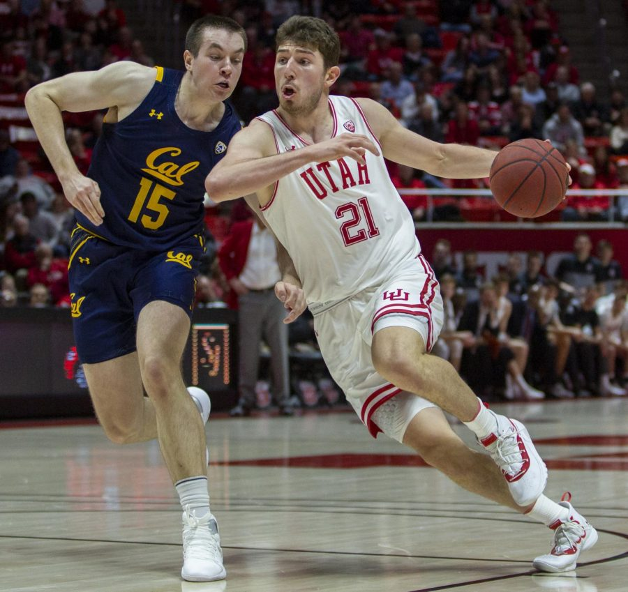 University of Utah sophomore forward Riley Battin (21) during an NCAA Basketball game vs. the California Golden Bears at the Jon M. Huntsman Center in Salt Lake City on Saturday, Feb. 8, 2020. (Photo by Jalen Pace | The Daily Utah Chronicle)