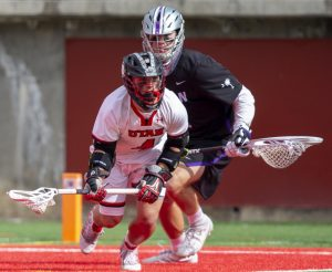 University of Utah senior Jimmy Perkins (4) during an NCAA Lacrosse game vs. the Furman University Paladins at Rice-Eccles Stadium in Salt Lake City on Saturday, Feb. 22, 2020. (Photo by Jalen Pace | The Daily Utah Chronicle)