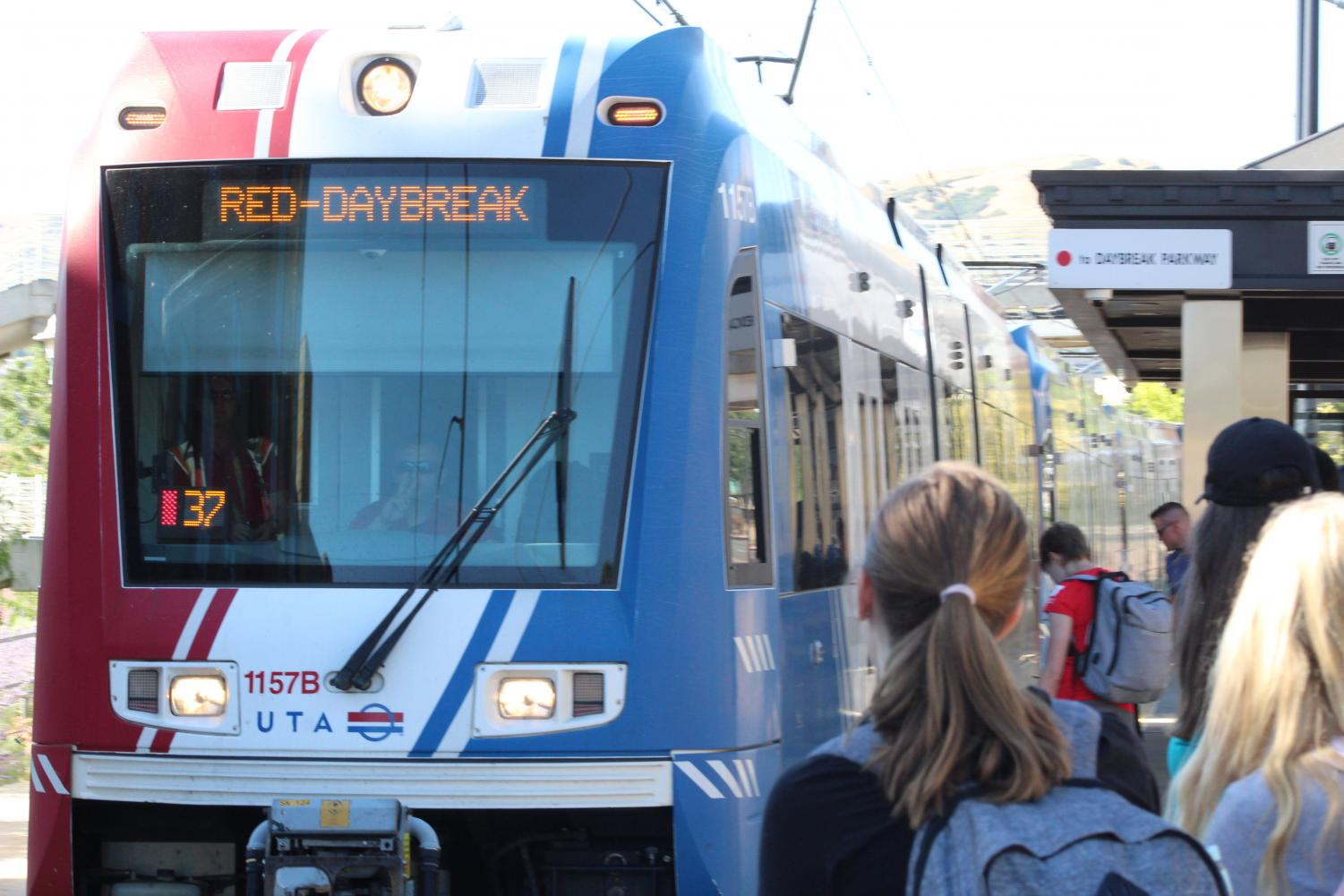 Riders prepare to board Trax in Salt Lake City on Aug. 27, 2019 | Chronicle archives