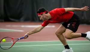 University of Utah Junior Russell Benkaim during NCAA Tennis match against Utah State at the George S. Eccles Tennis Center in Salt Lake City, Utah on Saturday, Fed. 7, 2020. (Photo by Tom Denton | The Daily Utah Chronicle)