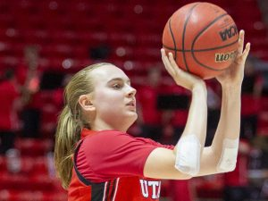 University of Utah freshman guard Brynna Maxwell (11) during an NCAA Basketball game vs. the University of Oregon at the Jon M. Huntsman Center in Salt Lake City, Utah on Thursday, Jan. 30, 2020. (Photo by Jalen Pace | The Daily Utah Chronicle)