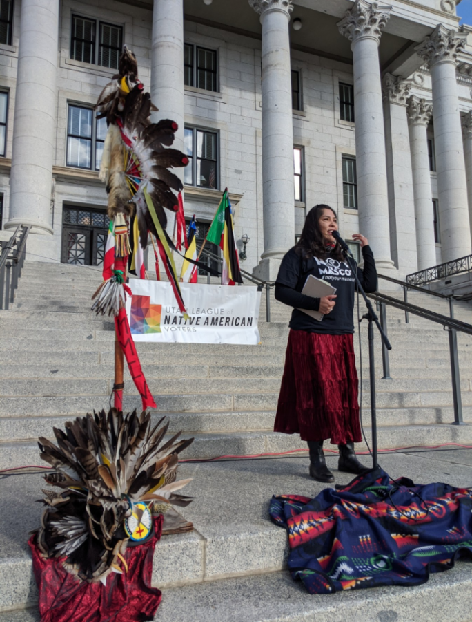 Davina Smith, former executive director of SLC Air Protectors, at the protest at the Capitol on Jan. 25, 2020.