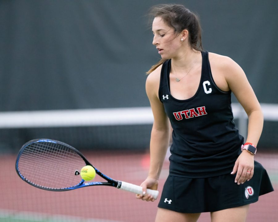 University+of+Utah+Senior+Whitney+Hekking+serves+during+a+dual+Pac-12+Women%E2%80%99s+Tennis+meet+vs.+the+Denver+Pioneers+%28University+of+Denver%29+at+the+George+S.+Eccles+Tennis+Center+in+Salt+Lake+City+on+Feb.+23%2C+2020+%28Photo+by+Abu+Asib+%7C+The+Daily+Utah+Chronicle%29