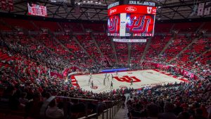 The University of Utah plays against Stanford during an NCAA Basketball game at the Jon M. Huntsman Center in Salt Lake City, Utah on Thursday, Feb. 6, 2020. (Photo by Kiffer Creveling | The Daily Utah Chronicle)