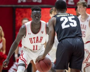 University of Utah sophomore guard Both Gach (11) guards University of Colorado junior guard McKinley Wright IV (25) during an NCAA Basketball game at the Jon M. Huntsman Center in Salt Lake City on Saturday, March 7, 2020. (Photo by Kiffer Creveling | The Daily Utah Chronicle)