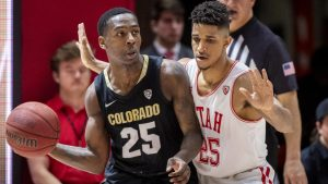 University of Utah junior guard Alfonso Plummer (25) guards University of Colorado junior guard McKinley Wright IV (25) during an NCAA Basketball game at the Jon M. Huntsman Center in Salt Lake City on Saturday, March 7, 2020. (Photo by Kiffer Creveling | The Daily Utah Chronicle)