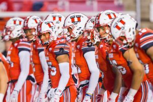 The University of Utah Football team lined up during warmups prior to kickoff in an NCAA Football game vs. the University of Arizona at Rice-Eccles Stadium in Salt Lake City, UT on Friday October 12, 2018.(Photo by Curtis Lin | Daily Utah Chronicle)