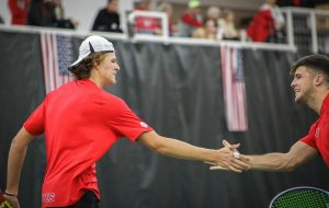 University of Utah freshman Franco Capalbo and Wally Thayne during NCAA Tennis match against Iowa at the George S. Eccles Tennis Center in Salt Lake City, Utah on Friday, Feb. 21, 2020. (Photo by Cassandra Palor | The Daily Utah Chronicle )