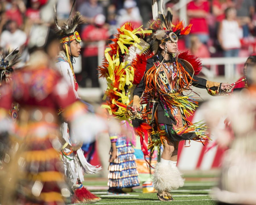 Members from the Ute Indian tribe performa a ritual dance during the game vs. the Washington Huskies at Rice-Eccles Stadium on Saturday, October 29, 2016. | Chronicle archives