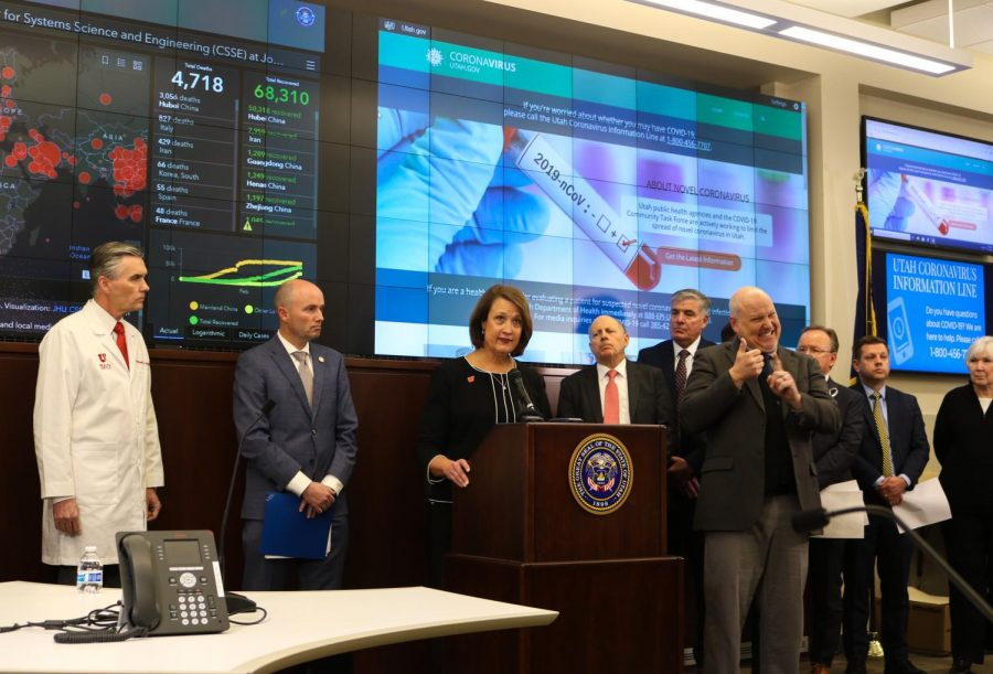 President+Watkins+speaks+at+the+press+conference+in+the+Emergency+Operations+Center+at+the+Capitol+in+Salt+Lake+City+on+March+12%2C+2020.+