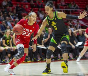 University of Utah senior wing Daneesha Provo (23) drives to the basket during an NCAA Basketball game vs. the University of Oregon at the Jon M. Huntsman Center in Salt Lake City on Thursday, Jan. 30, 2020. (Photo by Jalen Pace | The Daily Utah Chronicle)