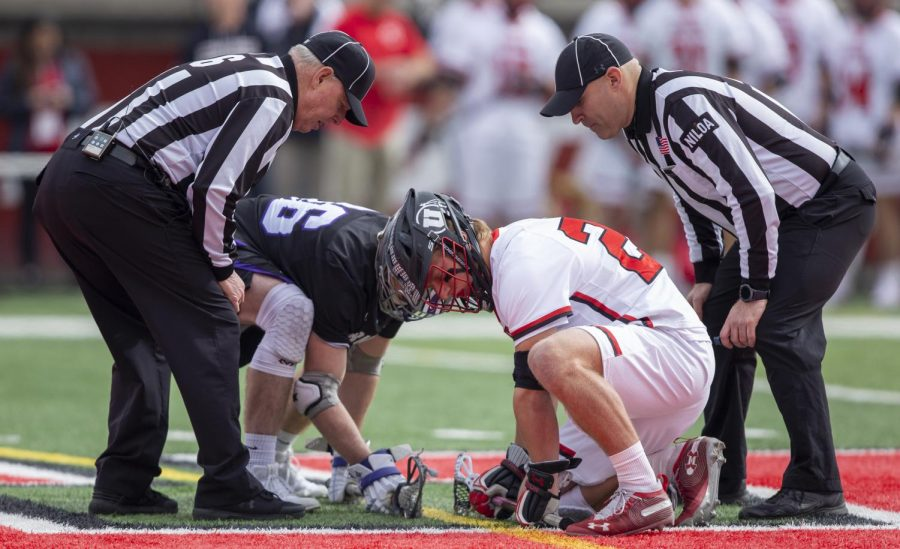 University+of+Utah+freshman+Cole+Brams+%2824%29+lining+up+for+a+face+off+during+an+NCAA+Lacrosse+game+vs.+the+Furman+University+Paladins+at+Rice+Eccles+Stadium+in+Salt+Lake+City+on+Saturday%2C+Feb.+22%2C+2020.+%28Photo+by+Jalen+Pace+%7C+The+Daily+Utah+Chronicle%29