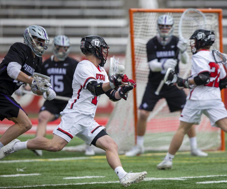 University of Utah junior Josh Stout (1) during an NCAA Lacrosse game vs. the Furman University Paladins at Rice-Eccles Stadium in Salt Lake City on Saturday, Feb. 22, 2020. (Photo by Jalen Pace | Daily Utah Chronicle)