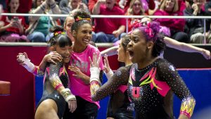 University of Utah women's gymnastics senior Kim Tessen reacts to her perfect 10 following her performance on the vault in a dual meet vs. The Stanford Cardinals at the Jon M. Huntsman Center in Salt Lake City, Utah on Friday, March 6, 2020. (Photo by Kiffer Creveling | The Daily Utah Chronicle)