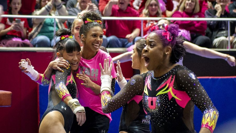 University+of+Utah+women%27s+gymnastics+senior+Kim+Tessen+reacts+to+her+perfect+10+following+her+performance+on+the+vault+in+a+dual+meet+vs.+The+Stanford+Cardinals+at+the+Jon+M.+Huntsman+Center+in+Salt+Lake+City%2C+Utah+on+Friday%2C+March+6%2C+2020.+%28Photo+by+Kiffer+Creveling+%7C+The+Daily+Utah+Chronicle%29