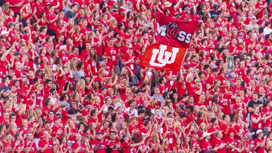 The University of Utah student section, The Muss, celebrates a touchdown during an NCAA Football game vs. the Weber State Wildcats at Rice Eccles Stadium in Salt Lake City, Utah on Thursday, Aug. 30, 2018. (Photo by Kiffer Creveling | The Daily Utah Chronicle)