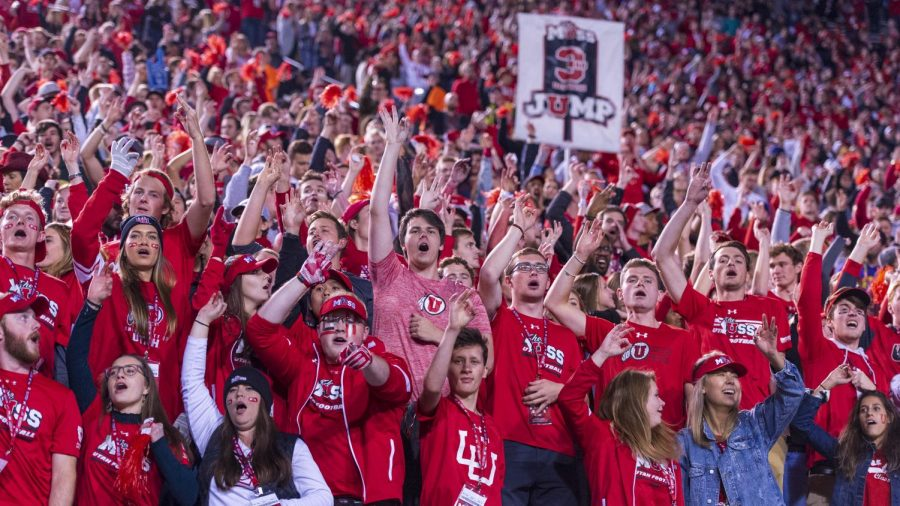 The+University+of+Utah+student+section%2C+The+Muss%2C+cheers+during+a+3rd+down+during+an+NCAA+Football+game+vs.+The+University+of+Southern+California+at+Rice+Eccles+Stadium+in+Salt+Lake+City%2C+Utah+on+Saturday%2C+Oct.+20%2C+2018.+%28Photo+by+Kiffer+Creveling+%7C+The+Daily+Utah+Chronicle%29