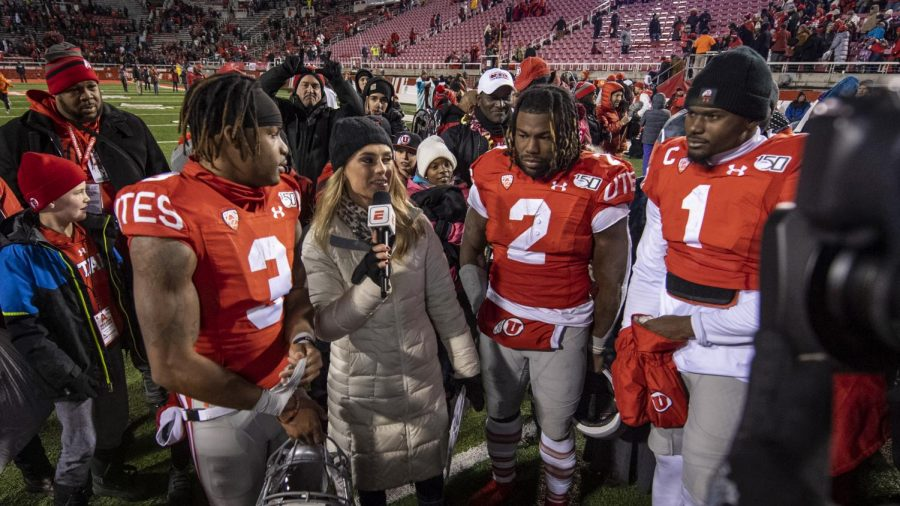 University+of+Utah+senior+wide+receiver+Demari+Simpkins+%283%29%2C+Zack+Moss+%282%29+and+Tyler+Huntley+%281%29+get+interviewed+following+an+NCAA+Football+game+vs.+the+University+of+Colorado+at+Rice-Eccles+Stadium+in+Salt+Lake+City%2C+Utah+on+Saturday%2C+Nov.+30%2C+2019.+%28Photo+by+Kiffer+Creveling+%7C+The+Daily+Utah+Chronicle%29