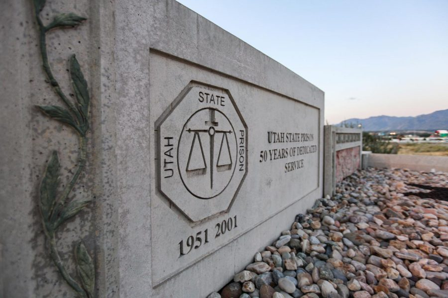 The front gate of the Utah State Prison in Draper. (Photo by J. Prather | The Daily Utah Chronicle)