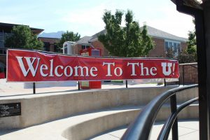 (Banner welcoming students living on campus to the University of Utah in Aug. 2014 | Chronicle archives)