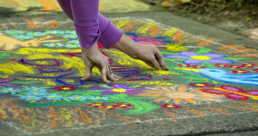 In Nain Christopherson's neighborhood, people bonded through sidewalk chalk art. She says that even once social distancing is over, we should bring some of the benefits to our new normal. (Photo by Andy Purveyance | Courtesy Flickr)