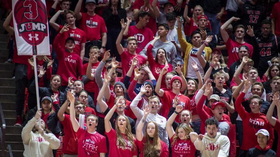 The University of Utah student section cheers during an NCAA Basketball game vs. The University of Oregon at the Jon M. Huntsman Center in Salt Lake City, Utah on Saturday, Jan. 4, 2020. (Photo by Kiffer Creveling | The Daily Utah Chronicle)