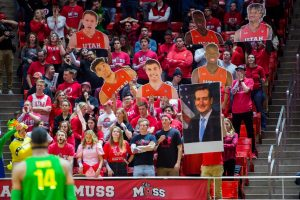 The University of Utah's Student Section (MUSS) held up signs while an Oregon player attempted a free throw in an NCAA Men's Basketball game vs. the University of Oregon at Jon M. Huntsman Center in Salt Lake City, UT on Thursday January 31, 2019 (Photo by Curtis Lin | Daily Utah Chronicle)