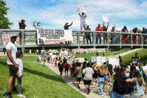 (Ivana Martinez | Daily Utah Chronicle) Black Lives Matters protesters march for George Floyd in downtown Salt Lake City on May 30, 2020.