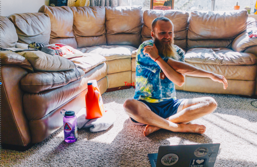 University of Utah Student Quinn Case works out in his SLC apartment on May 29th, 2020. (Photo by Mark Draper | The Daily Utah Chronicle)