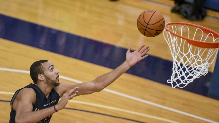 Utah Jazz center Rudy Gobert gets a rebound during an inter-squad scrimmage game at Hill Air Force Base, Utah, Sept. 29, 2017. The team began playing its preseason schedule Oct. 2 and will play its first regular season home game in Salt Lake City against the Denver Nuggets Oct. 18. (U.S. Air Force photo by Paul Holcomb)