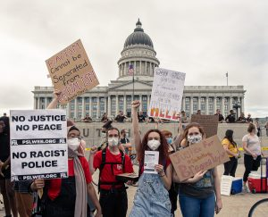 Anti-police protesters pose in front of the Utah State Capitol in Salt Lake City, Utah, on June 4, 2020. (Photo by Manasij Mukherjee | The Daily Utah Chronicle)