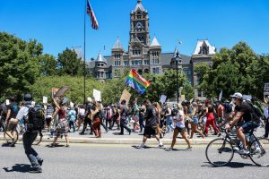 Demonstrators march in the Juneteenth protest around downtown Salt Lake City on June 19, 2020. ( Photo by Ivana Martinez   Daily Utah Chronicle)