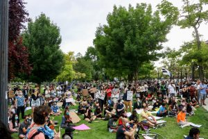 Protestors at Pioneer park listening to speakers talk at the protest against police brutality on June 13, 2020. (Photo by Ivana Martinez   Daily Utah Chronicle)
