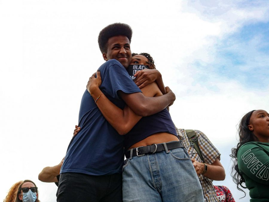 Speakers Daud Mumin and Abena BakenRa have a moment after speaking at the Black Lives Matter Protest held at the Utah Capitol in Salt Lake City on June 4, 2020. (Ivana Martinez | Daily Utah Chronicle)