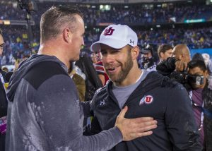 University of Utah defensive coordinator Morgan Scalley congratulates Northwestern University football head coach Pat Fitzgerald on their victory following the San Diego County Credit Union Holiday Bowl at SDCCU Stadium in San Diego, California on Monday, Dec. 31, 2018. (Photo by Kiffer Creveling | The Daily Utah Chronicle)