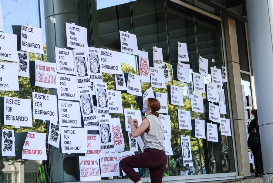 Protesters gather at the District Attorney's Office in Salt Lake City on July 9, 2020.