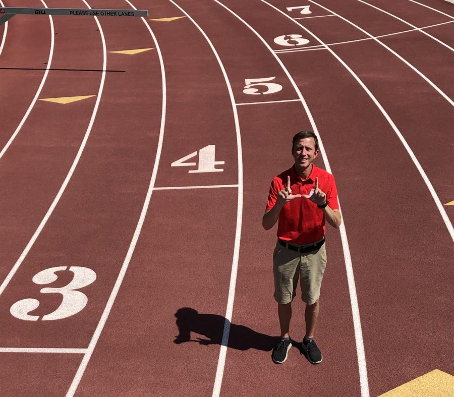 Head Cross Country and Track and Field Coach Kyle Kepler at the McCarthey Family Track and Field Complex on July 2, 2020. (Photo by Justin Prather | Daily Utah Chronicle)