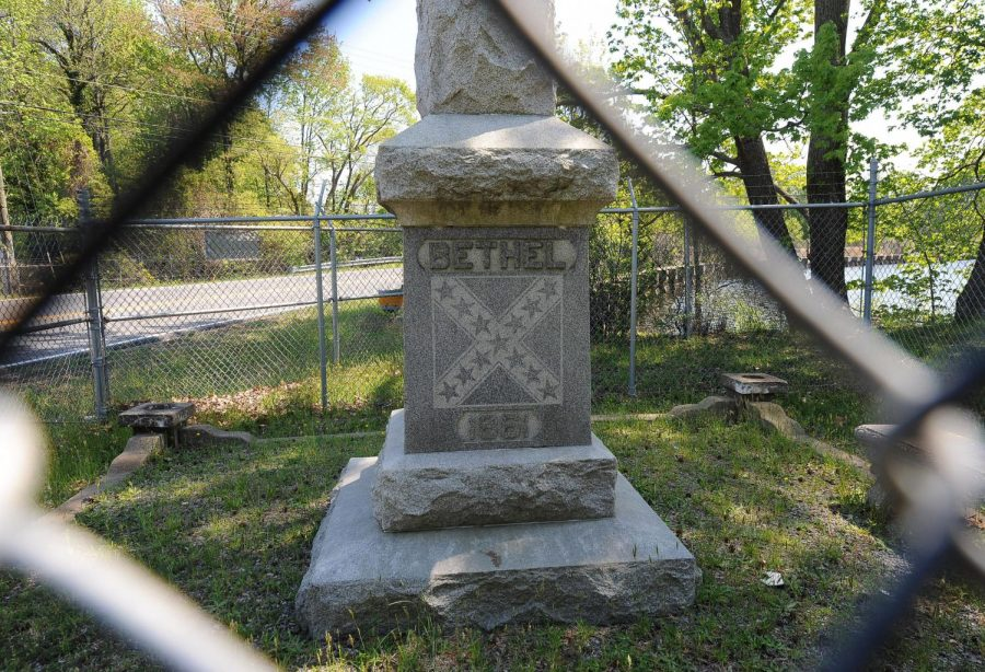 An obelisk, donated by the United Daughters of the Confederacy in 1961, commemorating the 100-year anniversary of the Battle of Big Bethel. (Courtesy U.S. Air Force)