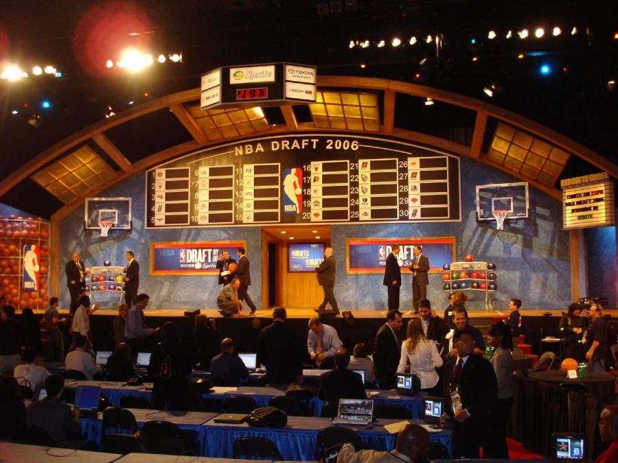 The draft board and stage pre draft. (Image via Wikimedia Commons)