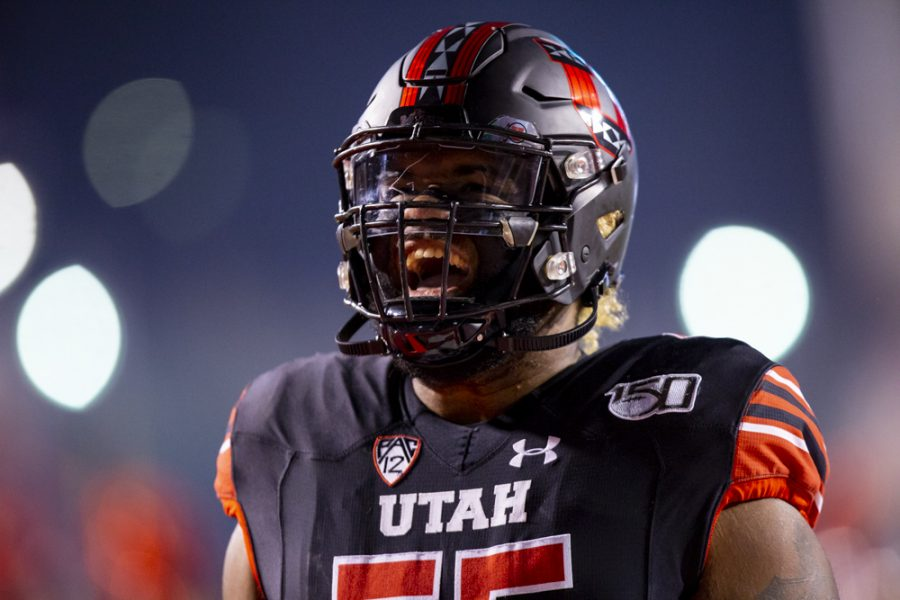 University of Utah sophomore offensive lineman Nick Ford (55) gets pumped up prior to the start of the game in an NCAA Football game vs. University of California at Rice-Eccles Stadium in Salt Lake City, UT on Saturday October 26, 2019.  (Photo by Curtis Lin | Daily Utah Chronicle)