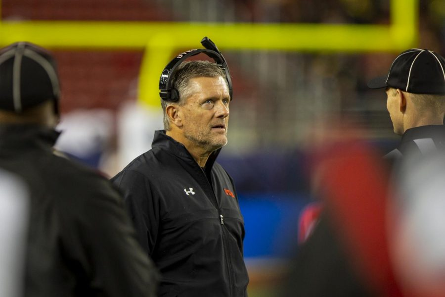 University of Utah football head coach Kyle Whittingham during a timeout in the Pac-12 Championship Game vs. University of Oregon at Levis Stadium in Santa Clara, CA on Friday, Dec. 6, 2019.(Photo by Curtis Lin | Daily Utah Chronicle)