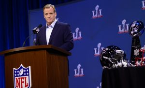 Roger Goodell taking questions at his State of the League press conference. (Image via Flickr)