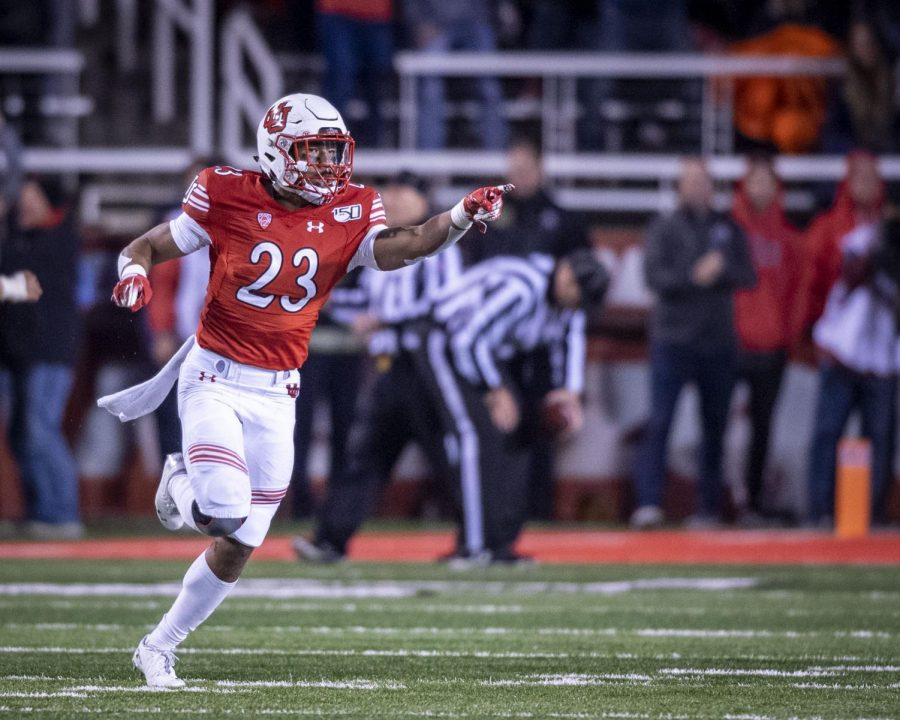 University of Utah senior defensive back Julian Blackmon (23) celebrates after stopping Washington State on their fourth down during an NCAA Football game at Rice Eccles Stadium in Salt Lake City, Utah on Saturday, Sept. 28, 2019. (Photo by Kiffer Creveling | The Daily Utah Chronicle)