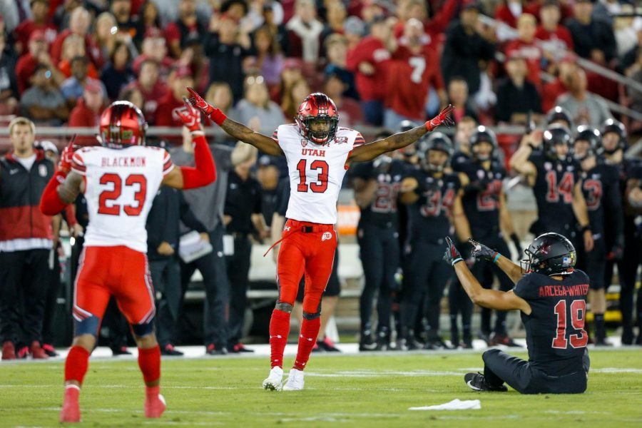 University of Utah senior defensive back Marquise Blair (13) celebrated after an incompletion (play however was called back) during an NCAA Football game vs. Stanford Cardinal at Stanford Stadium in Palo Alto, CA on Saturday, Oct. 6, 2018.(Photo by Curtis Lin | Daily Utah Chronicle)