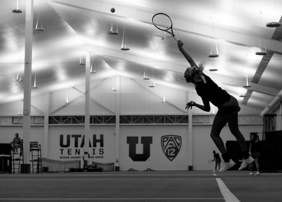 University of Utah Women's Tennis junior Margo Pletcher plays in a match agains the Weber State Wildcats at the George S. Eccles Tennis Center at the University of Utah on Sunday, March 26, 2017