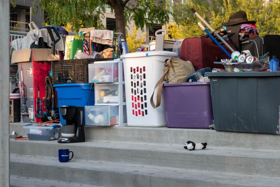 Belongings of an individual experiencing homelessness in Salt Lake City, Utah on September 21st, 2020. (Photo by Gwen Christopherson | The Daily Utah Chronicle)