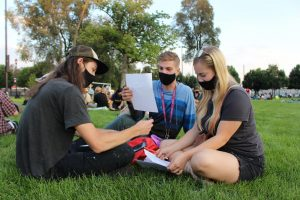 Black Lives Matter demonstrators write letters to political prisoners at Pioneer Park on August 28, 2020 in Salt Lake City, Utah. (Photo by Gwen Christopherson | The Daily Utah Chronicle)